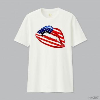 USA Flag Lipstick On Smiling
